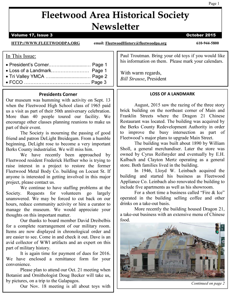 FAHSNewsletter2015-10-1 | fleetwood area historical society