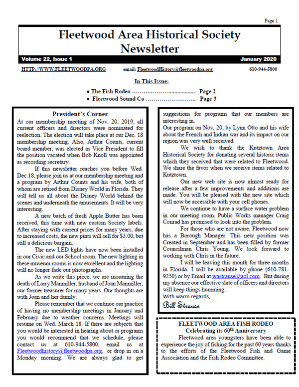 Fleetwood Historical society Newsletter January 2020