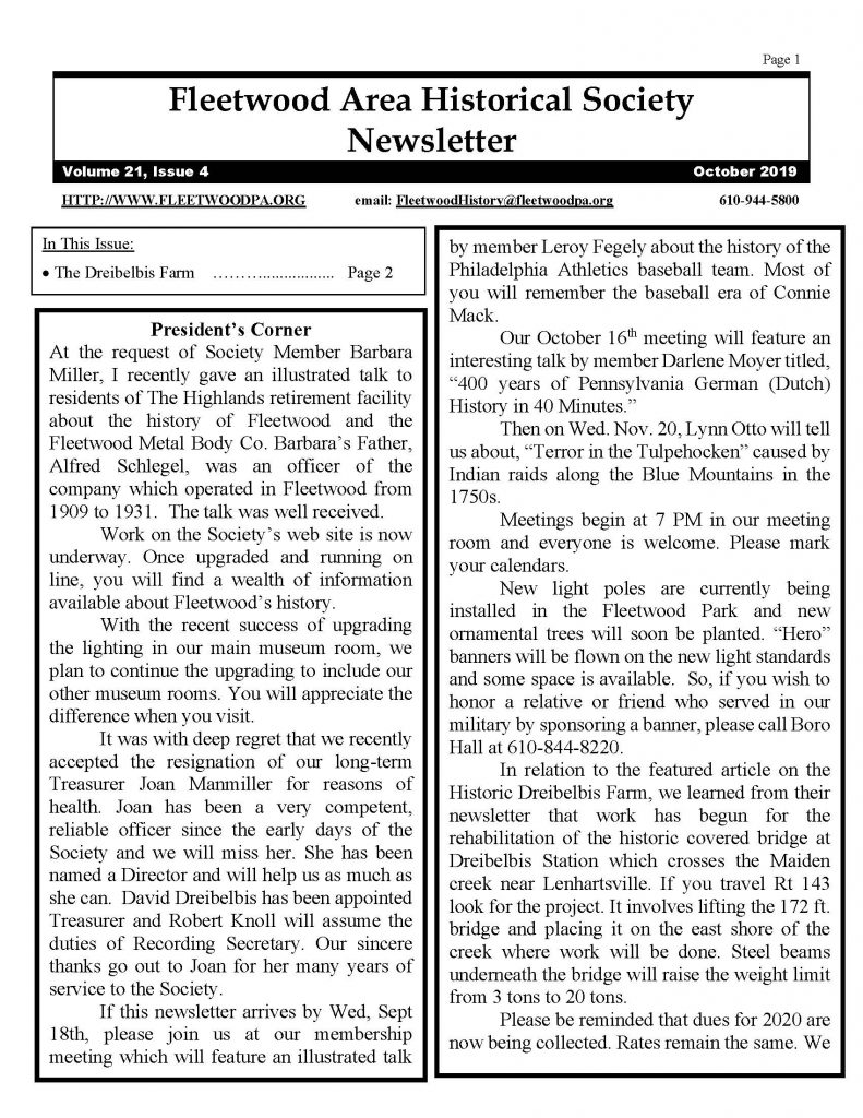 newsletter 2019_Page_1 | fleetwood area historical society